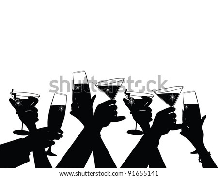 Toasting Silhouette EPS 8, grouped for easy editing. - stock vector