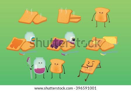 toasts pack   cartoon   flat