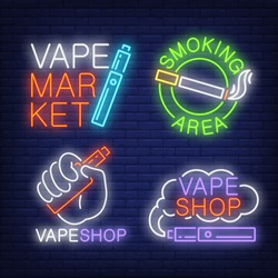 Tobacco and electronic cigarettes neon signs set with text. Vape shop and smoking design elements. Night bright neon sign, colorful billboard, light banner. Vector illustration in neon style.