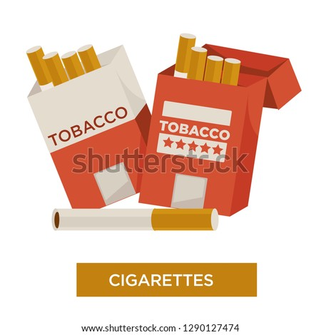 Tobacco leaves product cigarette in pack isolated vector icon relax and harmful habit or narcotic addiction open package smoking nicotine with filter five star rate unhealthy lifestyle and dependency.