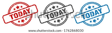 today stamp. today round isolated sign. today label set