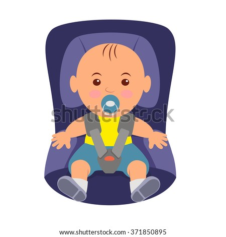 Toddler wearing a seatbelt in the car seat. Illustration of road safety in child car seat
