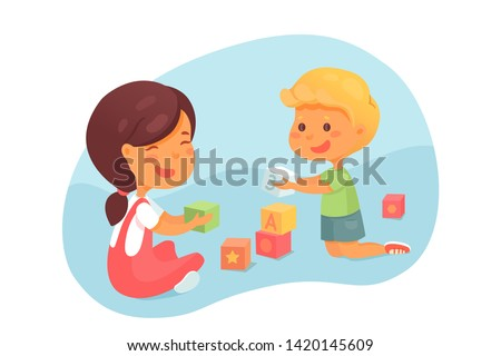 Toddlers playing with cubes vector illustration. Little children learning ABC, letters and numbers. Cartoon boy, girl stacking pyramid. Cute siblings busy with creative thinking development game