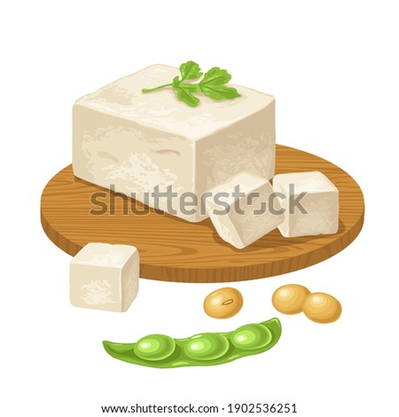 Tofu on wood board and open soybean pod. Vector color flat icon for menu, poster, label. Isolated on white background. Vector color illustration for menu, poster, label. Isolated on white background Сток-фото ©
