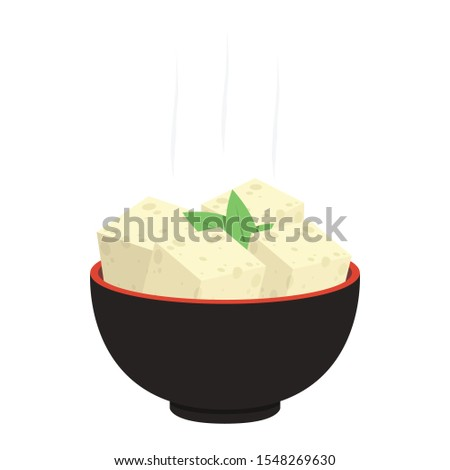 Tofu vector. Tofu in the cup. wallpaper. free space for text. Сток-фото ©