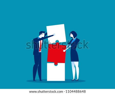 Together. Business and partnership work to build connection business. Concept business vector illustration. Flat business character, Cartoon style design