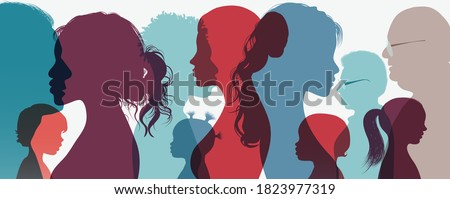 Together group generation.Family concept.Mother Father parents fellow toddler grandparents daughter son grandchildren brother sister boy girl young baby.Human silhouette face head profile