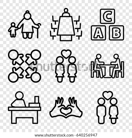 Together icons set. set of 9 together outline icons such as abc cube, table, women couple, couple, heart tag, meeting, roundelay
