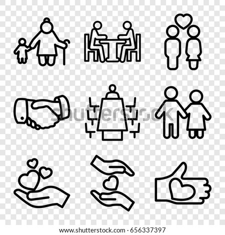 Together icons set. set of 9 together outline icons such as handshake, hands holding heart, couple, hand holding heart, hand with heart, meeting