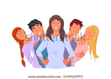 Togetherness, friendship, unity concept. Happy young people standing together, cheerful friends posing for group photo, college students group, successful coworkers team. Simple flat vector