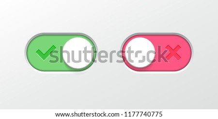 Toggle button switch off or turn on slider icons for vector flat web UI toggle button interface design