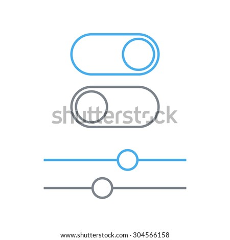 Toggle switches and sliders outline icon, On and Off position vector simple icons. Toggle switch and slider linear symbol, modern minimal flat design style, user interface