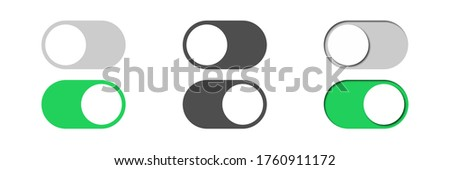 toggle vector switch slider button. on off. mobile phone ui interface turn power. control web bar. active green inactive grey isolated on white background. shutdown indicator. navigation panel set Stock photo ©
