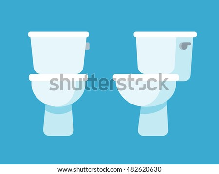 Toilet bowl flat cartoon icon, front and side view.