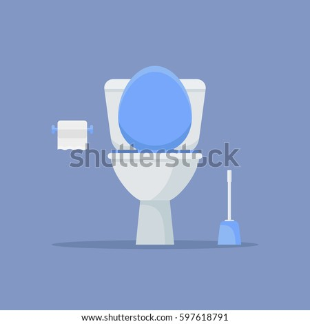 Toilet bowl, paper and brush isolated on blue background. Flat style vector illustration.
