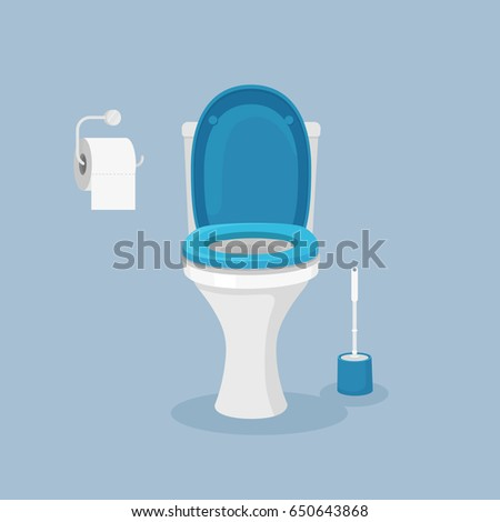 Toilet bowl, seat with paper roll and brush isolated on background. Vector illustration. Flat style design