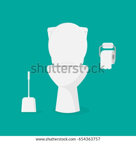 Toilet bowl, toilet paper and brush for toilet bowl. Modern toilet set in flat style. Isolated on background. Vector illustration, eps 10