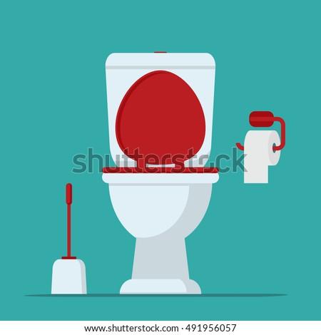 Toilet bowl, toilet paper and brush for toilet bowl. Vector illustration