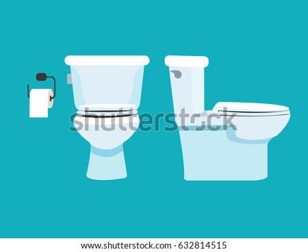 Toilet bowl, toilet paper. Vector illustration.
