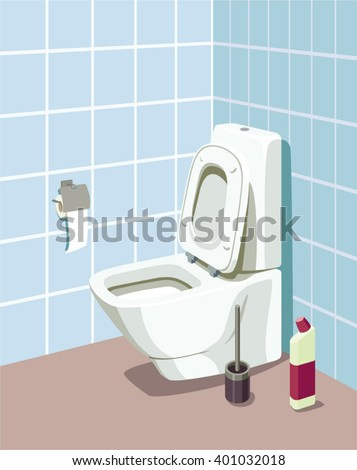 Toilet bowl with toilet paper and toilet brush. Vector illustration.