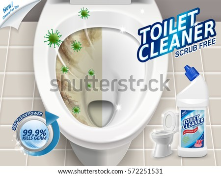 Toilet cleaner ads, before and after effect of cleaner, top view of toilet in 3d illustration