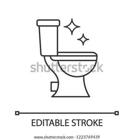 Toilet cleaning linear icon. Thin line illustration. Bathroom cleaning. Contour symbol. Vector isolated outline drawing. Editable stroke