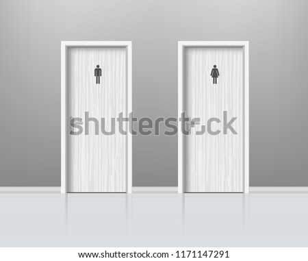 Toilet doors for male and female genders. Woden Door for man and woman lavatory room, WC realistic composition. . Vector