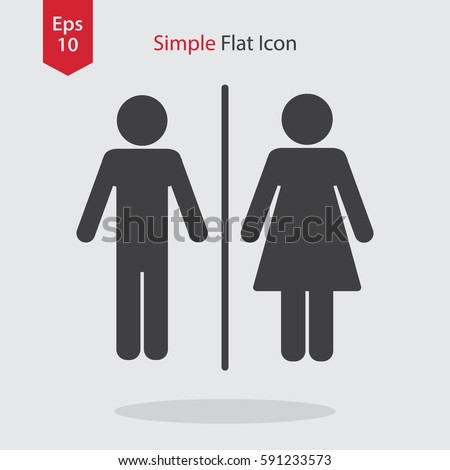 Toilet Flat Icon. Simple Sign Of WC. Vector Illustrated Symbol.