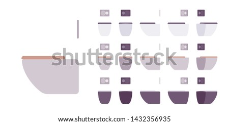 Toilet for bathroom set. Wall fixed seat for water closet, restroom sanitary equipment. Vector flat style cartoon illustration isolated on white background, different views and colors