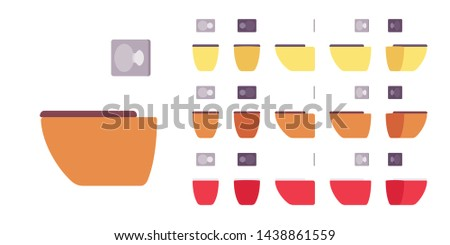 Toilet for bright bathroom set. Wall fixed seat for water closet, restroom sanitary equipment. Vector flat style cartoon illustration isolated on white background, different views and colors
