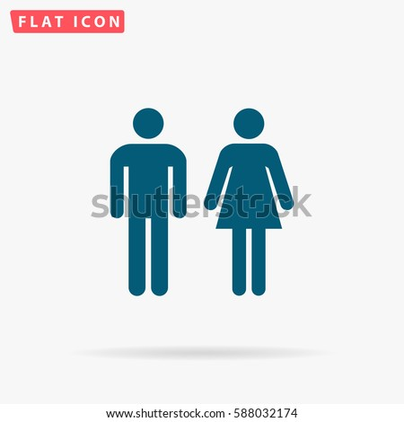 Toilet Icon Vector. Flat simple Blue pictogram on white background. Illustration symbol with shadow