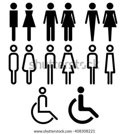 toilet icon with various style vector icon sign symbol pictogram info graphic