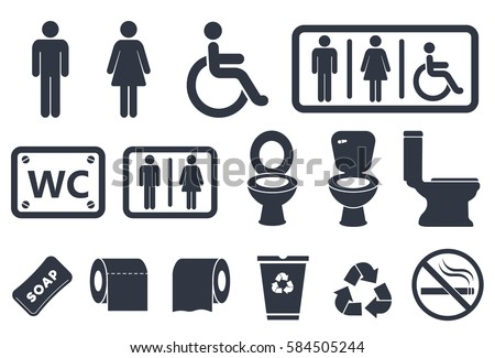 toilet icons on white background, restroom wc sign set