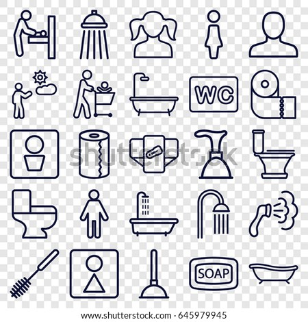Toilet icons set. set of 25 toilet outline icons such as man wc, baby changing room, shower, diaper, woman, man, girl, soap, plunger, paper towel, wc, female wc, bath
