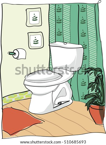 Toilet in home. Vector illustration.