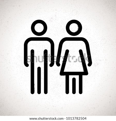 Toilet Indicating Sign. Vector Men and Women WC directional sign