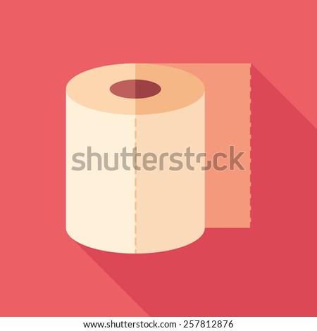 toilet paper flat square icon