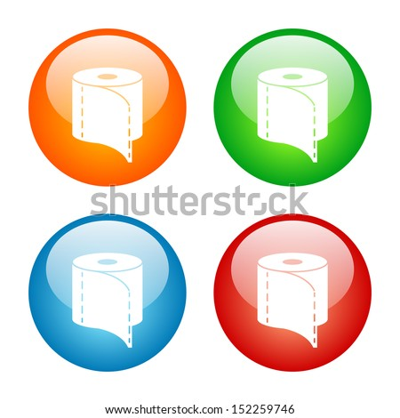 Toilet Paper Icon.  Vector Glass Button Icon Set.
