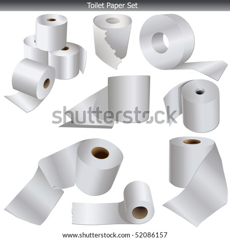 Toilet paper icons set vector isolated on white