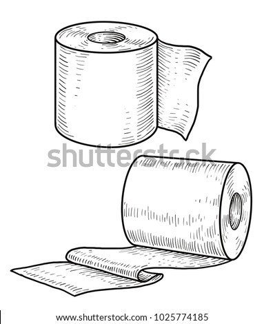 Toilet paper illustration, drawing, engraving, ink, line art, vector