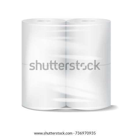 Toilet paper package white mock up with transparent wrapping. Vector illustration template for your design