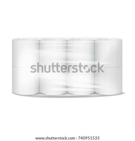 Toilet paper package white mock up with transparent wrapping. Vector realistic illustration template for your design