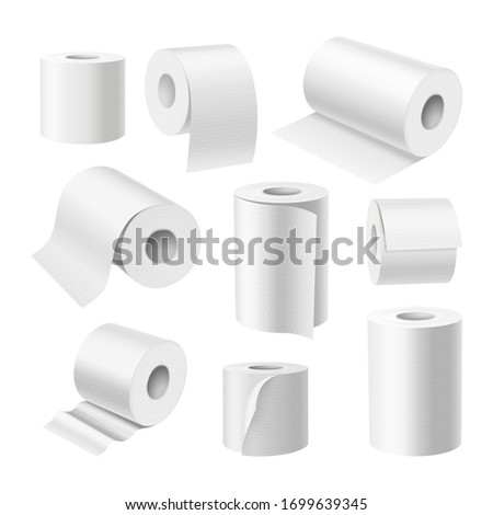 Toilet paper rolls and kitchen towels, vector realistic white 3D isolated mockups. White paper rolls with texture, toilet hygiene and hand wipe tissue, blank wallpaper and receipt thermals paper rolls