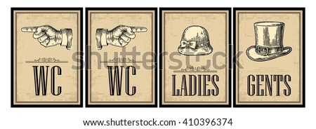 Toilet retro vintage grunge poster. Ladies, Cents, Pointing finger.  Vector engraved illustration on a beige background.  For bars, restaurants, cafes, pubs. #410396374