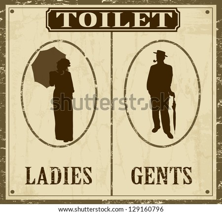 Toilet Retro Vintage Grunge Poster Vector Illustrator