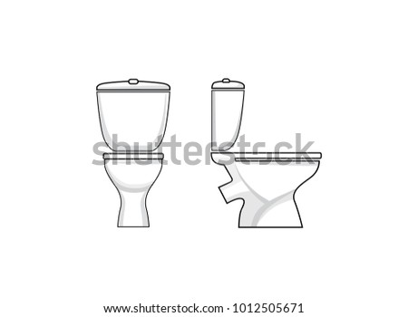 Toilet room furniture sign set. Bathroom interior object view. Toilet Sign. Toilet seat.