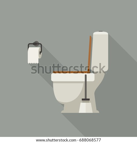 Toilet side view, with toilet paper and brush.
