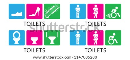 Toilet toilets wc restroom wheelchair sign vector eps icon handicap people man lady woman boy girl young fun funny human sign signs footstep feet shoe gender toilet paper rooster people person old