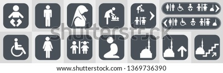 Toilet vector icons set boy or girl restroom wc.