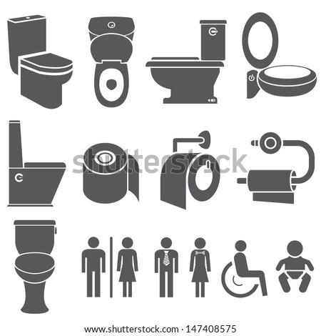 toilet vector set, toilet icons set
